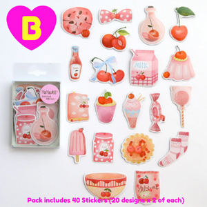 40 Pc Pack Sweetheart Girl Gourmet Temptation Stickers