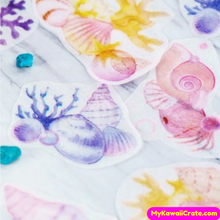 40 Pc Sea Shells and Oyster Shells with Fresh Water Pearls Stickers ~ Starfish Stickers