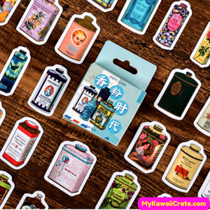 Retro Perfume Cans Decorative Stickers 45 Pc Pack