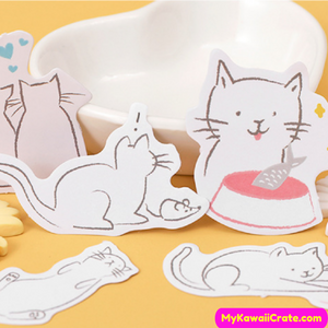 Cat with Fish Stickers