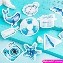 45 Pc Blue Series Summer Fun Decorative Stickers