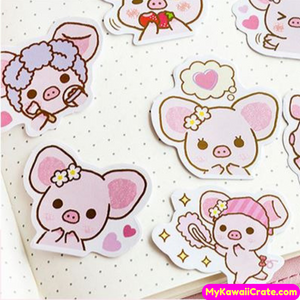 Cute Big Ears Pink Pigglet Pig Stickers