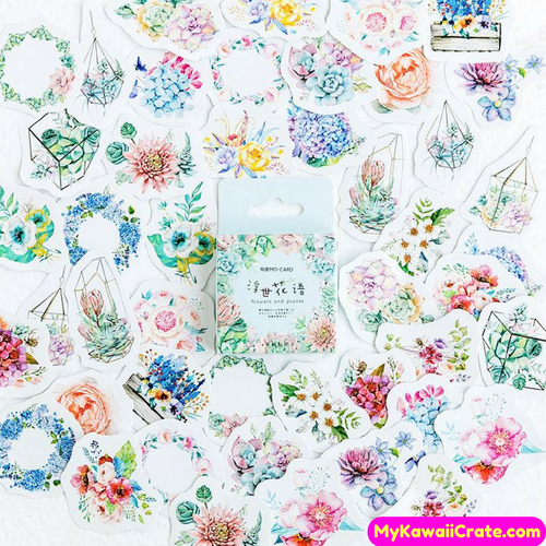 45 Pc Flowers Greenhouse Plants Garlands Stickers / Floral Stickers