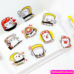 45 Pc Funny Sushi Comes to Life Decorative Sticker Pack