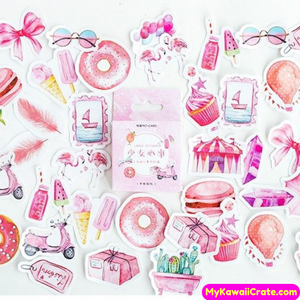 45 Pc Kawaii Pink Girly Dreams Decorative Stickers
