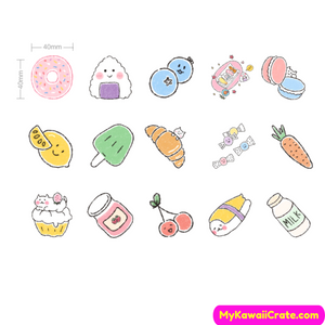 45 Pc Pack Kawaii Picnic Snacks Stickers