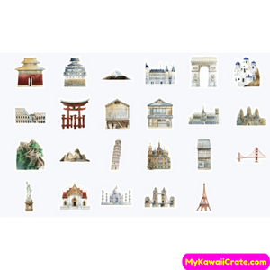 45 Pc Pack World Architecture History Stickers ~ Monument Buildings Stickers