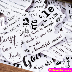 45 Pc Pack English Newspaper Motivational Quotes Stickers