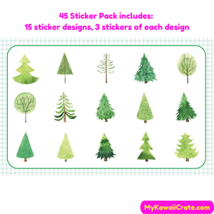 45 Pc Pack Swiss Alps Trees Decorative Stickers