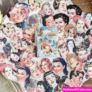 45 Pc Retro Style Men and Women Faces Stickers