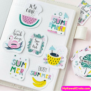 45 Pc Summer Time Pastel Colors Decorative Stickers