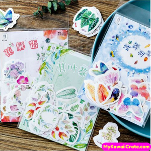 45 Pc Tropical Plants Leaves Flowers Cactus Succulents Butterflies Decorative Stickers