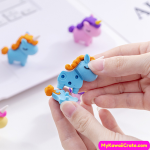 4 Pc Chubby Unicorn Pencil Erasers