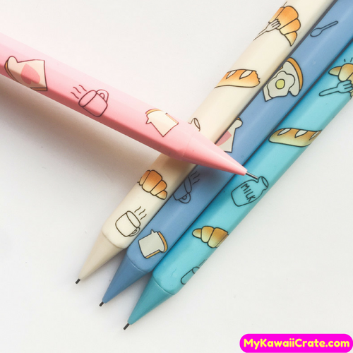 4 Pc Kawaii Breakfast Bread Eggs Milk Mechanical Pencils