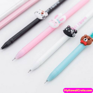 4 Pc Adorable Furry Friends Gel Pens