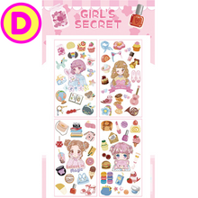 Cute Girls Unicorn Stamps Bread Cactus Stickers 4 Sheets Pack