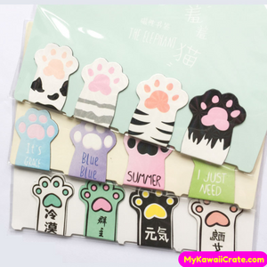 4 Pc Pack Cute Little Cat Paws Magnetic Bookmarks