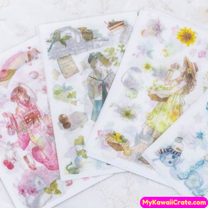 Four Seasons Japanese Manga Anime Girl Stickers Set