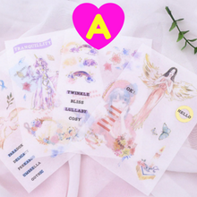 Mythical World Stickers 4 Sheets Set ~ Mermaid Stickers, Sorcerer Stickers, Angel Stickers