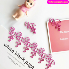 4 Pc Sweet Pink Flamingo Oversized Paper Clip Bookmark