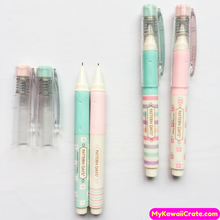 4 Pc Sweet Pastel Flowers & Stripes Pocket Size Mechanical Pencils