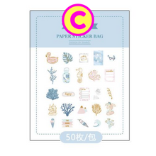 The Good Life Gilding Stickers ~ Pink Love Stickers, Blue Underwater Creatures Stickers, Zakka Stickers, Coffee Stickers