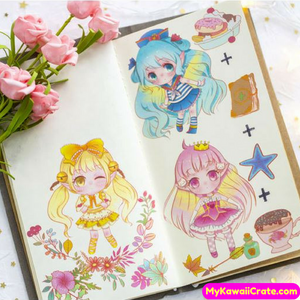 5 Sheets Cute Fairy Tale Manga Anime Girl Uncut Stickers