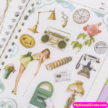 5 Sheets Retro Style Young Woman Decorative Stickers Set