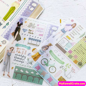 5 Sheets Summer Style Girl Decorative Stickers