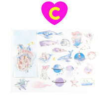 60 Pc Pack Gilding Whale Galaxy Sweet Desserts Unicorn Stickers