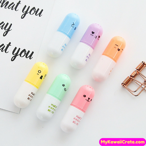 6 Pc Cute Happy Pill Mini Highlighter Set