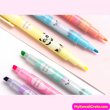 6 Pc Kawaii Animal Family Double Head Highlighters