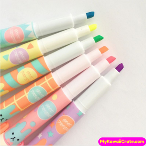 6 Pc Set Cute Bunny Pocket Size Highlighters