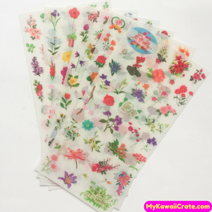 6 Sheets Blooming Flowers Decorative Stickers
