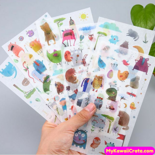 6 Sheets Cute Alien Invasion Decorative Stickers