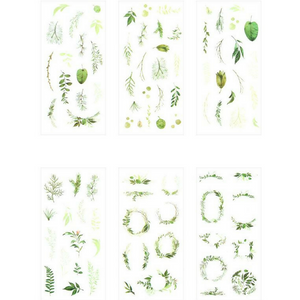 6 Sheets Fresh Green Leaves & Garland Decorative Stickers