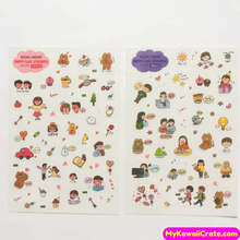 6 Sheets Happy Life Cute Bear Korean Stickers