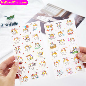 6 Sheets Kawaii Cute Kitten Decorative Stickers