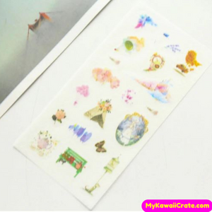 Kawaii Delicate Flowers Whimsical Love Stickers 6 Sheets Set