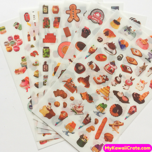 6 Sheets Colorful Macaron Cake & Foods Decorative Stickers
