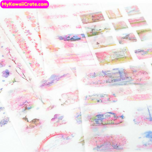 6 Sheets Romantic Japanese Pink Sakura Cherry Blossom Flowers &Town Stickers