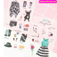 6 Sheets Kawaii Cute Fashion Clothes Accessories Decorative Sticker Set