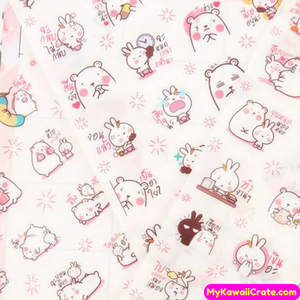 6 Sheets Kawaii Cute Bear & Rabbit In Love Decorative Cartoon Stickers