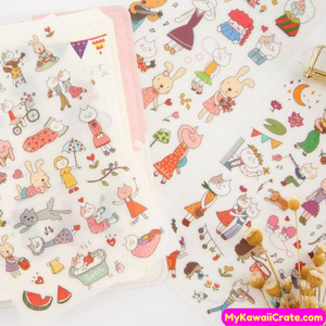 6 Sheets Kawaii Miss Cat Decorative Cartoon Stickers