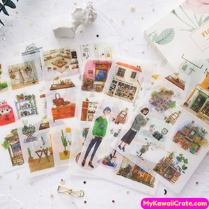 6 Sheets Traditional Life Decorative Stickers