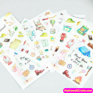 6 Sheets Travel the World Camping Outoors Decorative Stickers