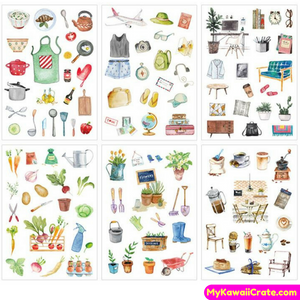 6 Sheets Set Zakka Lifestyle Decorative Stickers