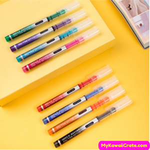 8 Pc Pack Bright Colors Quick Dry Fine Tip Roller Ball Pens