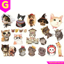 Uncut A5 Animal Kingdom Cat Dog Giraffe Deer Rabbit Birds Flowers Stickers