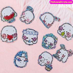 Adorable Big Ears Pet Bling Bling Shining Deco Sticker Pack / Kawaii Laser Stickers